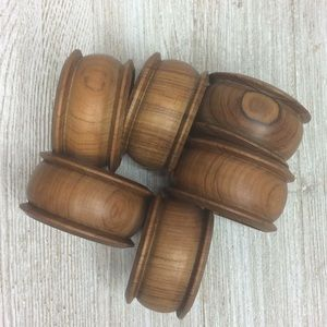 Other - Set of 6 Carved Wooden Napkin Rings